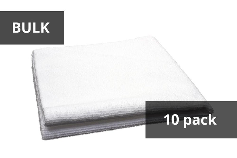 Autofiber White BULK BUNDLE [Utility] All-Purpose Edgeless Microfiber Towel (16 in x 16 in., 300 gsm) 10pack