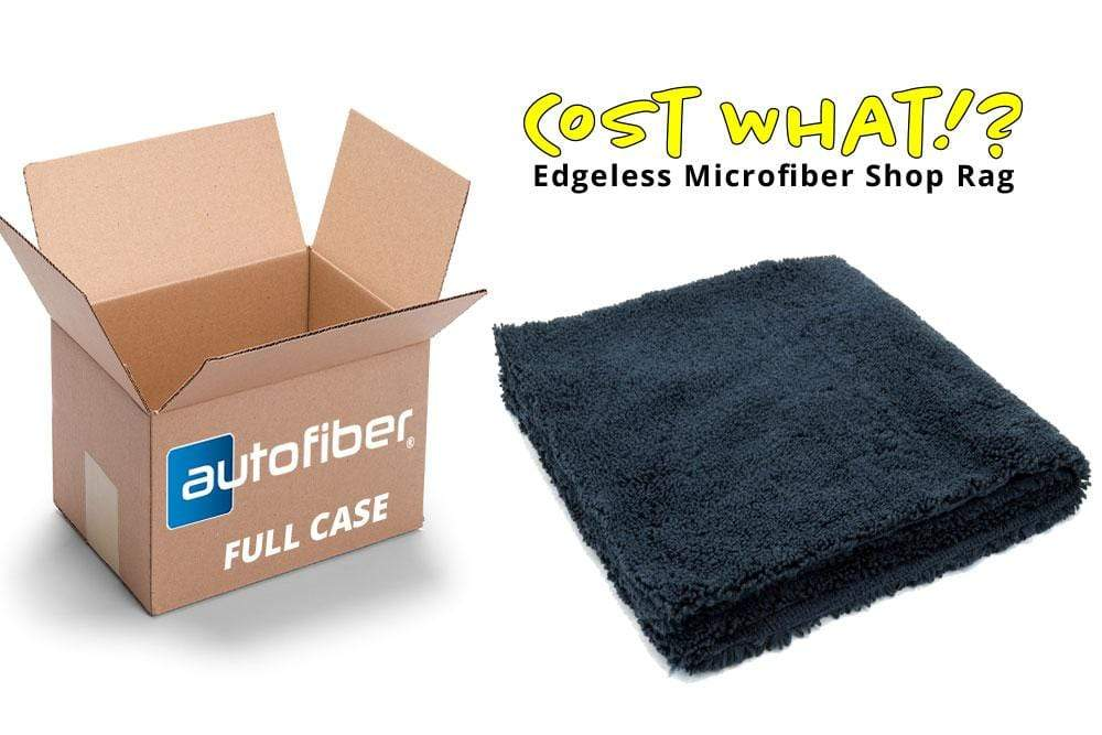 Autofiber Bulk Towel Black FULL CASE [Cost What!] Edgeless Microfiber Shop Rag (16 in. x 16 in.) - Case of 200