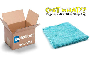 Autofiber Bulk Towel Teal Blue FULL CASE [Cost What!] Edgeless Microfiber Shop Rag (16 in. x 16 in.) - Case of 200