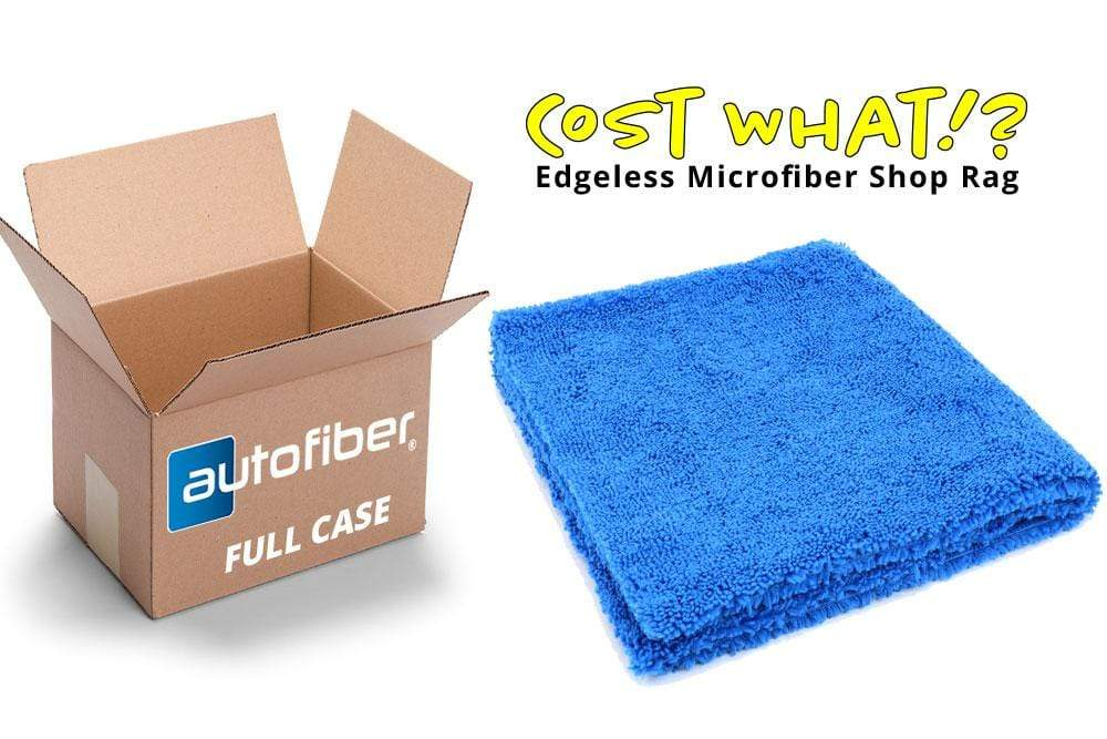 Autofiber Bulk Towel Blue FULL CASE [Cost What!] Edgeless Microfiber Shop Rag (16 in. x 16 in.) - Case of 200