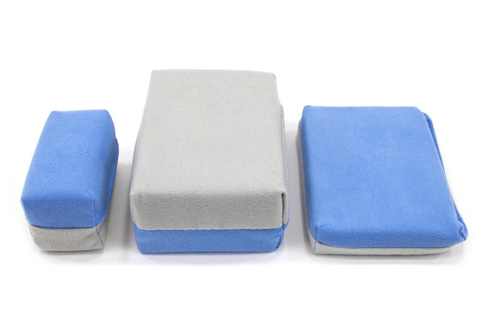 Autofiber Sponge [Saver Applicator Smooth] Microfiber Suede Applicator Sponge with Plastic Barrier - Blue & Gray - 12 pack