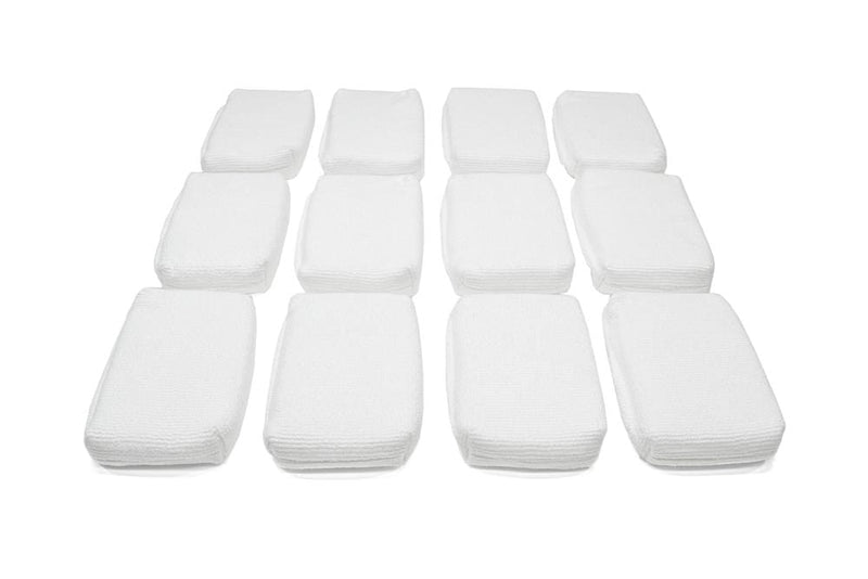 Autofiber Sponge White Thin [Saver Applicator Terry] Microfiber Coating Applicator Sponge with Plastic Barrier  - 12 pack