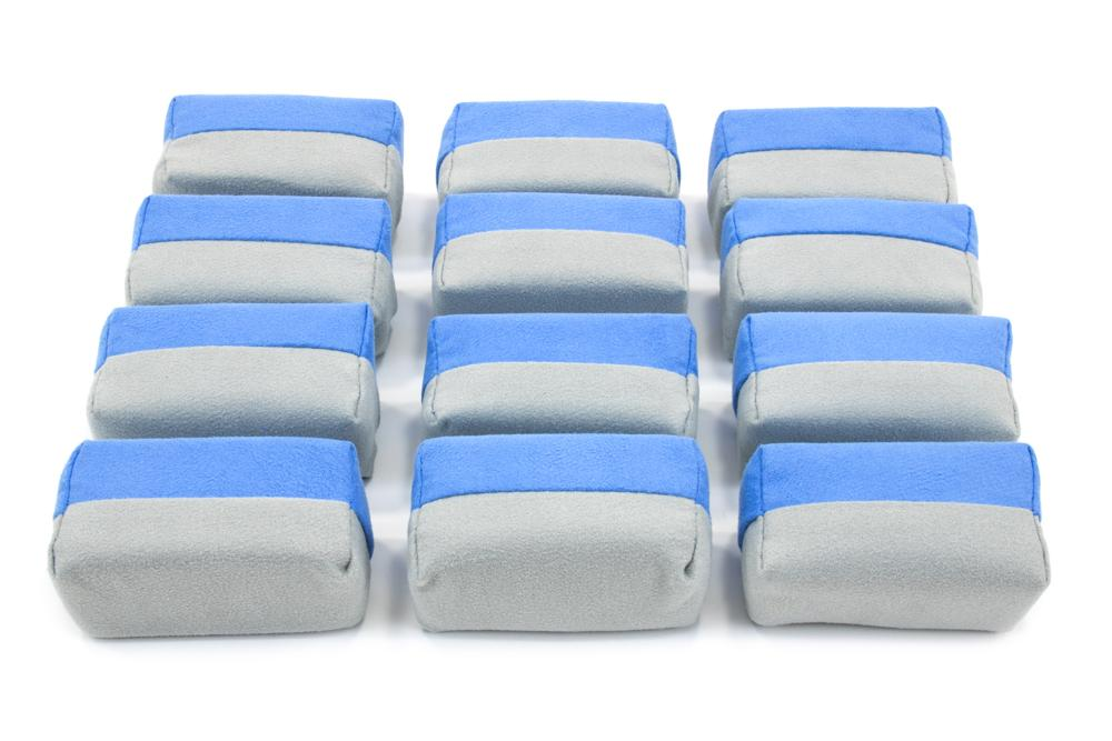"Autofiber Sponge Mini (3""x1.5""x1.5"") [Saver Applicator Smooth] Microfiber Suede Applicator Sponge with Plastic Barrier - Blue & Gray - 12 pack"