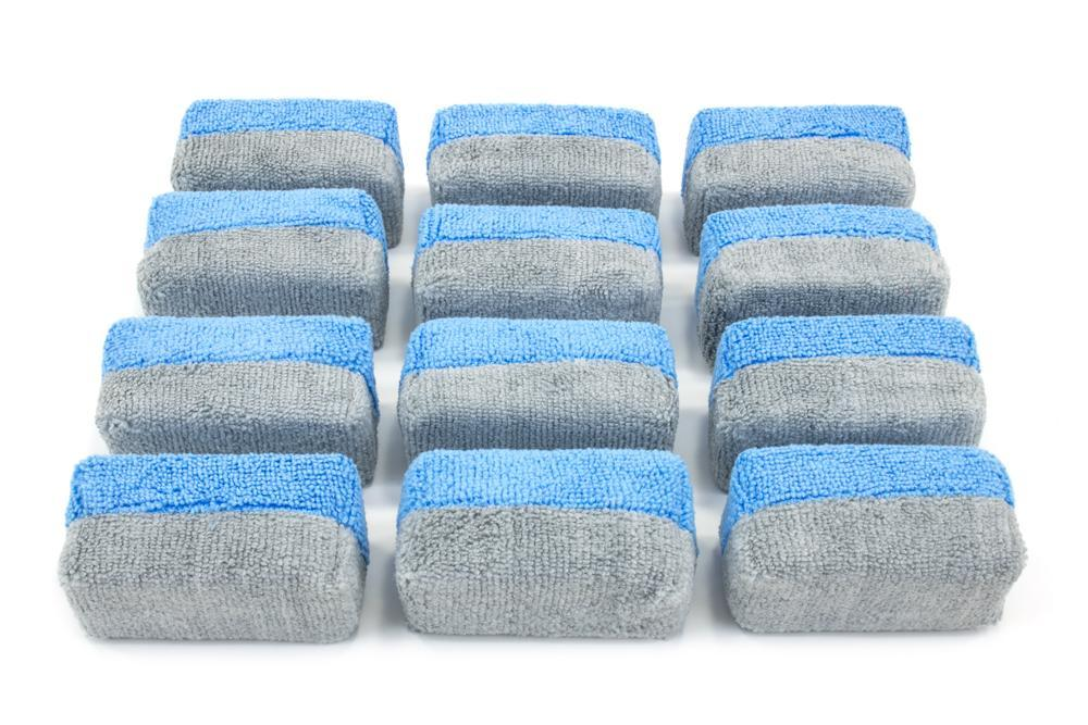 Autofiber Sponge Blue/Gray Mini [Saver Applicator Terry] Microfiber Coating Applicator Sponge with Plastic Barrier  - 12 pack