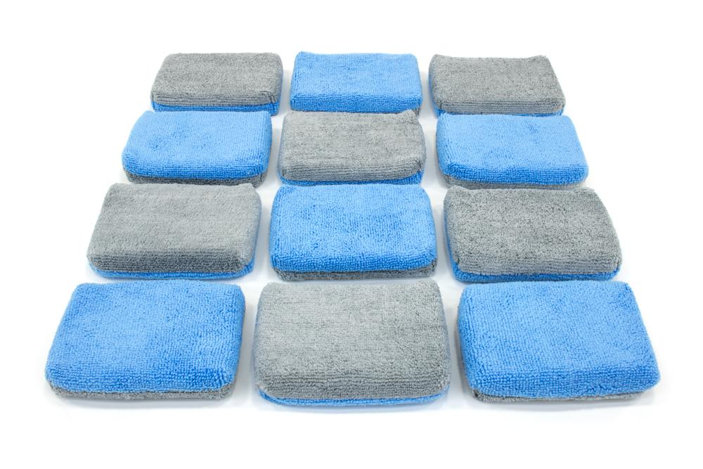 Autofiber Sponge Blue/Gray Thin [Saver Applicator Terry] Microfiber Coating Applicator Sponge with Plastic Barrier  - 12 pack