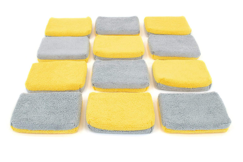 Autofiber Sponge Gold/Gray Thin [Saver Applicator Terry] Microfiber Coating Applicator Sponge with Plastic Barrier  - 12 pack