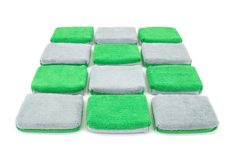 Autofiber Sponge Green/Gray Thin [Saver Applicator Terry] Microfiber Coating Applicator Sponge with Plastic Barrier  - 12 pack
