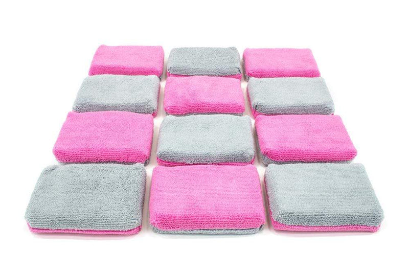 Autofiber Sponge Pink/Gray Thin [Saver Applicator Terry] Microfiber Coating Applicator Sponge with Plastic Barrier  - 12 pack