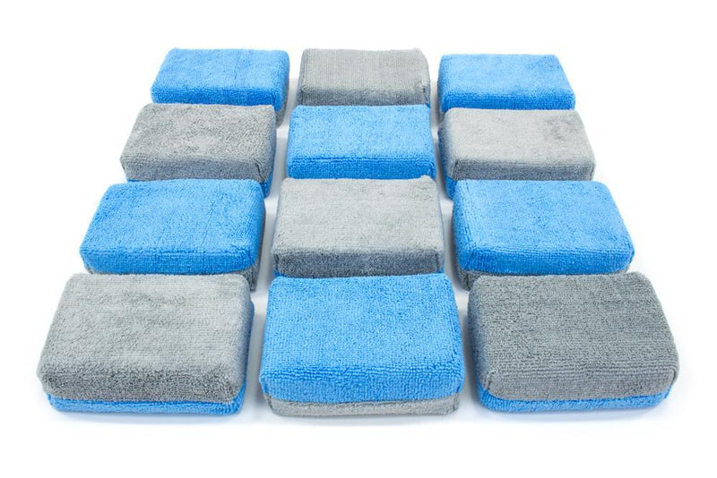 Autofiber Sponge Blue/Gray Thick [Saver Applicator Terry] Microfiber Coating Applicator Sponge with Plastic Barrier  - 12 pack