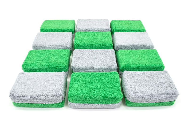 Autofiber Sponge Green/Gray Thick [Saver Applicator Terry] Microfiber Coating Applicator Sponge with Plastic Barrier  - 12 pack
