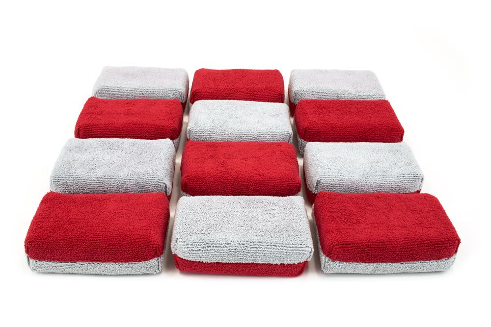 Autofiber Sponge Red/Gray Thick [Saver Applicator Terry] Microfiber Coating Applicator Sponge with Plastic Barrier  - 12 pack