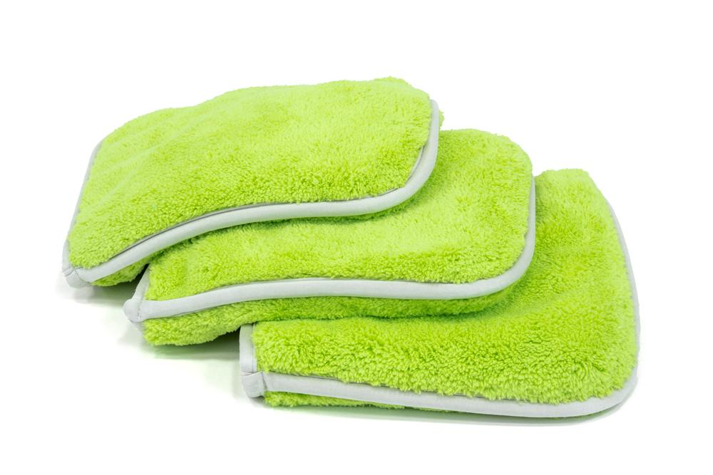 Autofiber Towel Green [Double Flip] Rinseless Car Wash Microfiber Towel (8 in. x 8 in., 1100 gsm) 3 pack