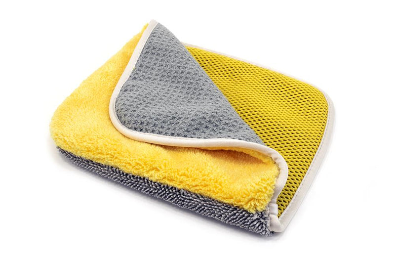 [Multi Flip] Four Weave Microfiber Towels - Mesh | Twist | Plush | Waffle (8 in. x 8 in., 500/400/360/300 gsm) 3 pack
