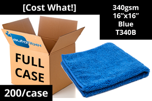 Autofiber Bulk Towel Blue FULL CASE [Cost What!] Microfiber Shop Rag (16 in. x 16 in.) - Case of 200