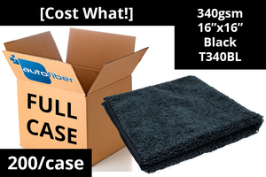 Autofiber Bulk Towel Black FULL CASE [Cost What!] Microfiber Shop Rag (16 in. x 16 in.) - Case of 200