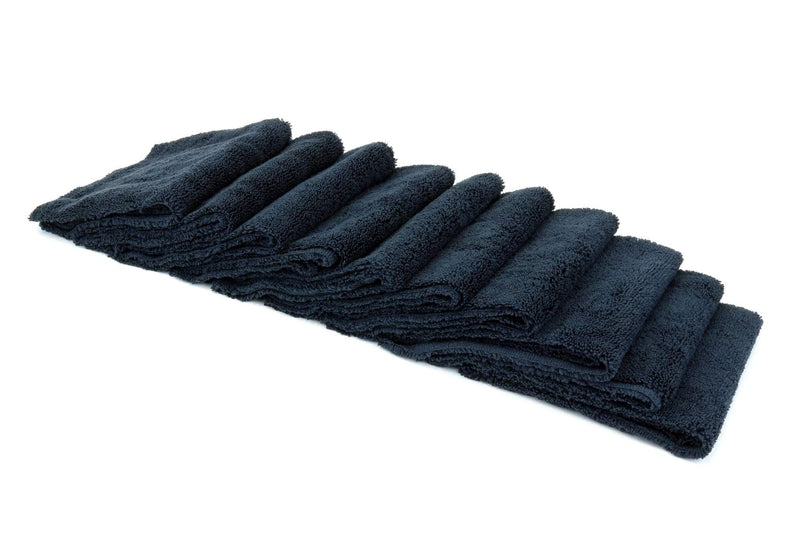 Autofiber Towel Black [Cost What!] Edgeless Microfiber Shop Rag (16 in. x 16 in.) - 10 pack