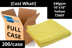 Autofiber Bulk Towel Yellow FULL CASE [Cost What!] Microfiber Shop Rag (16 in. x 16 in.) - Case of 200