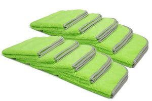 Autofiber Towel Green [Elite] Microfiber Detailing Towels with MicroEdge (16 in. x 16 in. 360 gsm) 10 pack