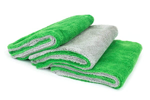 Autofiber Towel Green/Gray [Royal Plush] Double Pile Microfiber Detailing Towel (16 in. x 16 in., 700 gsm) - 3 pack
