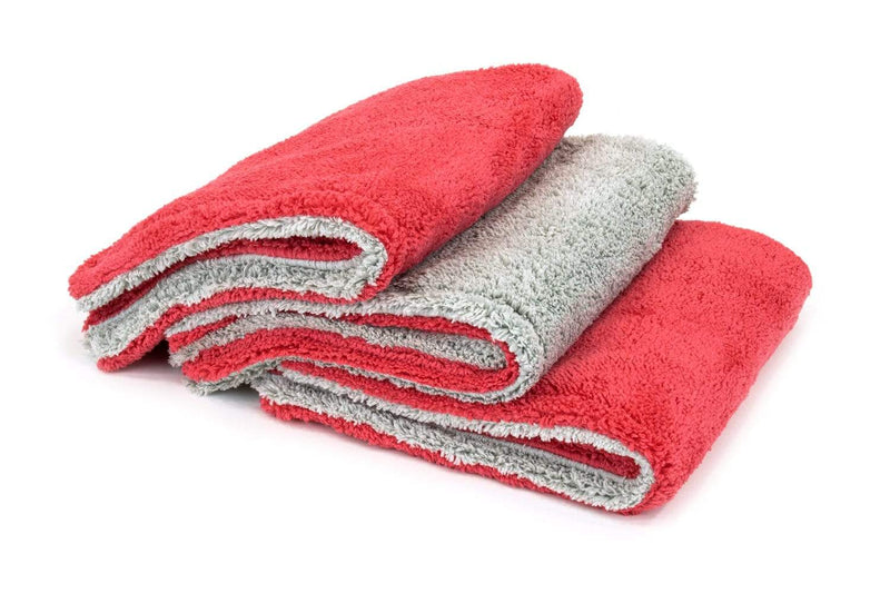 Autofiber Towel Red/Gray [Royal Plush] Double Pile Microfiber Detailing Towel (16 in. x 16 in., 600 gsm) - 3 pack