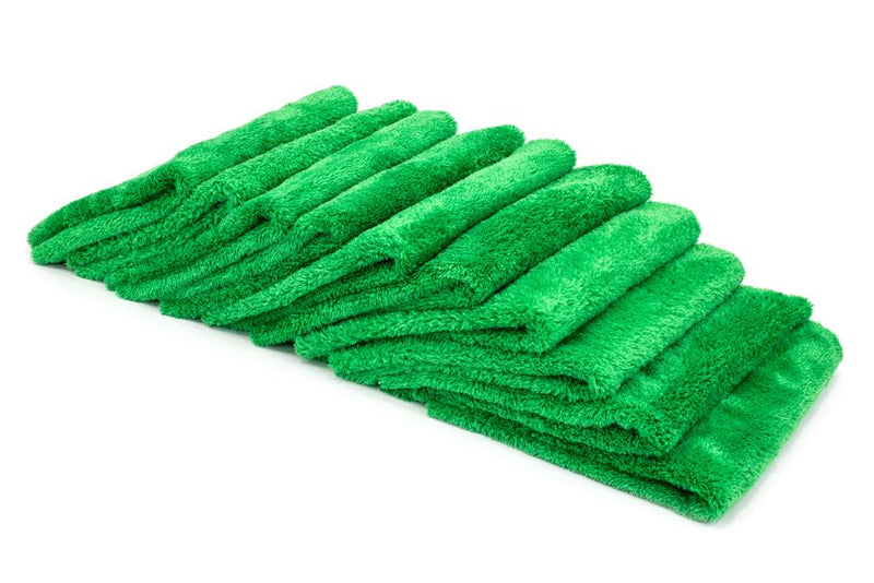 Autofiber Towel Green [Korean Plush 350] Microfiber Detailing Towel (16 in. x 16 in., 350 gsm) 10 pack BULK BUNDLE