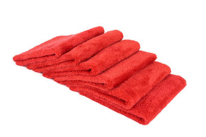 Autofiber Towel Red [Korean Plush 350] Edgeless Detailing Towels (16 in. x 16 in. 350 gsm) 6 pack