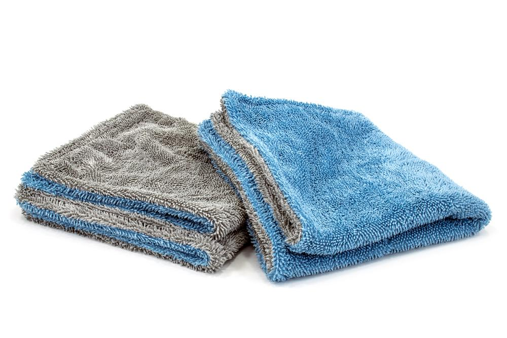 Autofiber Towel Blue/Gray Dreadnought Jr. - Microfiber Double Twist Pile Detailing Towel (16 in. x 16 in., 1100gsm) - 2 pack