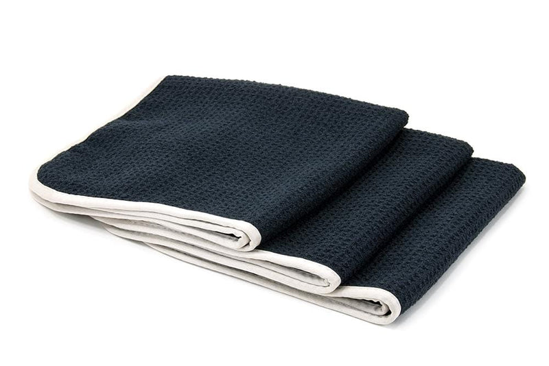 Autofiber Towel Black/Dark Navy [No Streak Freak] Microfiber Waffle-Weave Glass Towel (16 in. x 16 in. 400 gsm) 3 pack