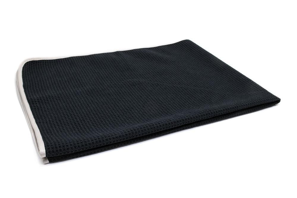 Autofiber Towel Black [Big Thirsty] Waffle Weave Drying Towel with MicroEdge (25 in. x 36 in., 400gsm) 1 pack