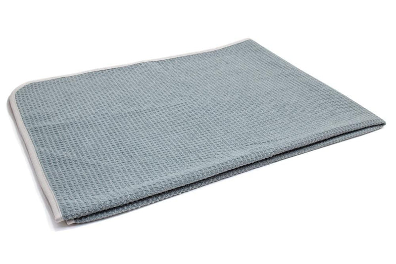 Autofiber Towel Gray [Big Thirsty] Waffle Weave Drying Towel with MicroEdge (25 in. x 36 in., 400gsm) 1 pack