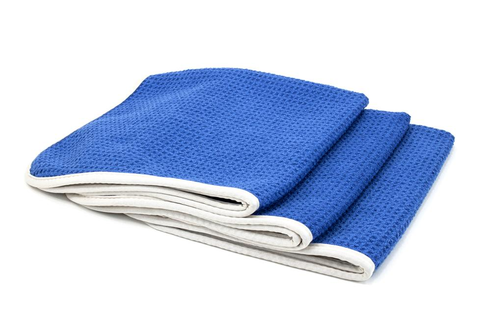 Autofiber Towel Blue [No Streak Freak] Microfiber Waffle-Weave Glass Towel (16 in. x 16 in. 400 gsm) 3 pack