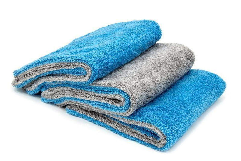 Autofiber Towel Blue/Grey Autofiber [Royal Plush] Double Pile Microfiber Detailing Towel (16 in. x 16 in., 600 gsm) - 3 pack