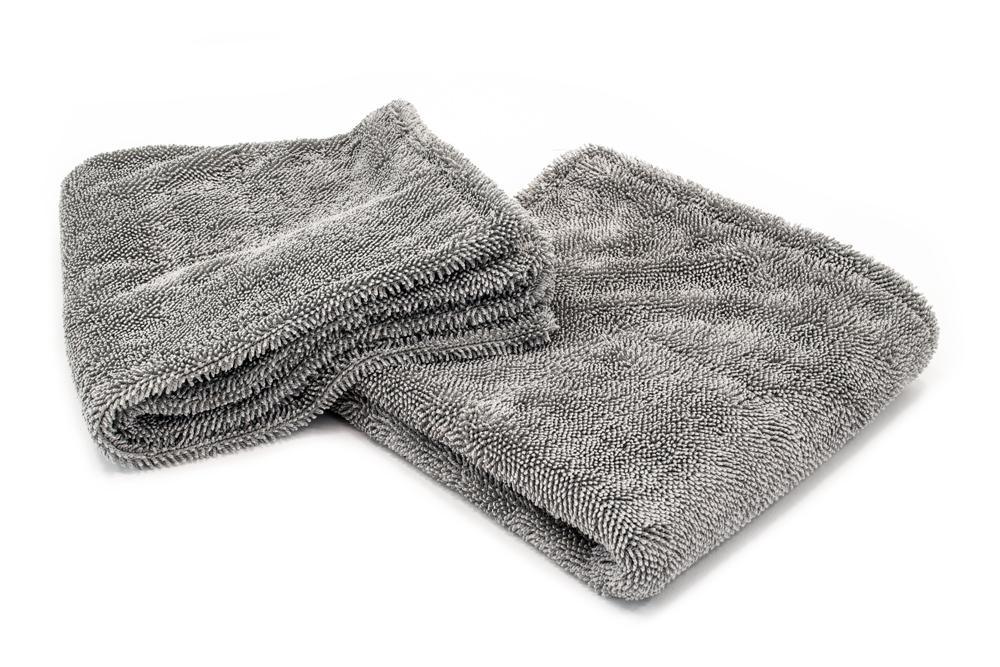 Autofiber Towel Gray Dreadnought Jr. - Microfiber Double Twist Pile Detailing Towel (16 in. x 16 in., 1100gsm) - 2 pack