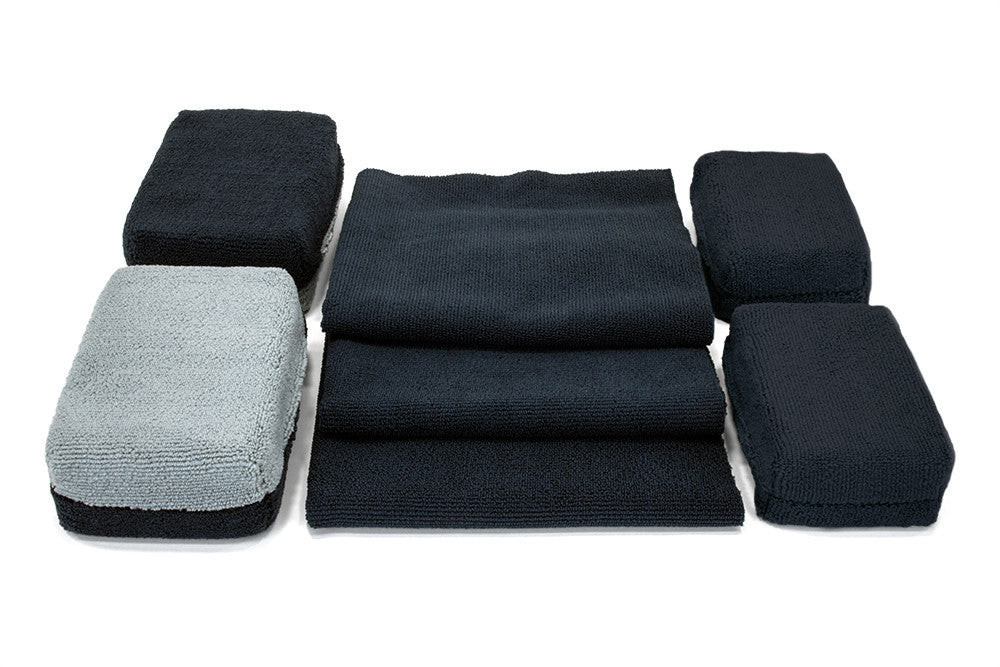 [Wheel Tire Kit] Black Microfiber Towel and Sponge Wheel Kit