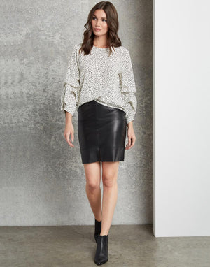 Leather Contrast Skirt