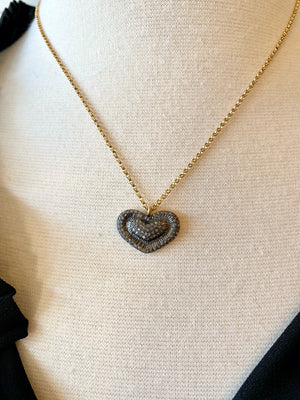 Pave Heart on Gold-Filled Chain