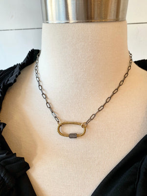 Oxidized Chain with Gold-Filled Carabiner