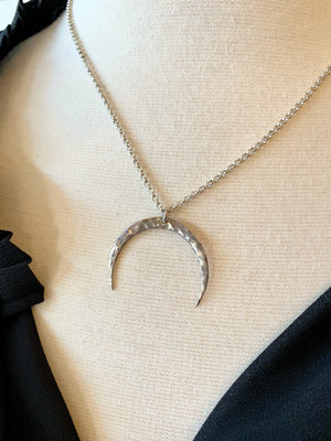 Sterling Silver Hammered Crescent Necklace