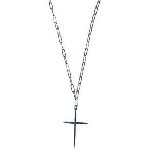 Gunmetal Pave Cross Necklace