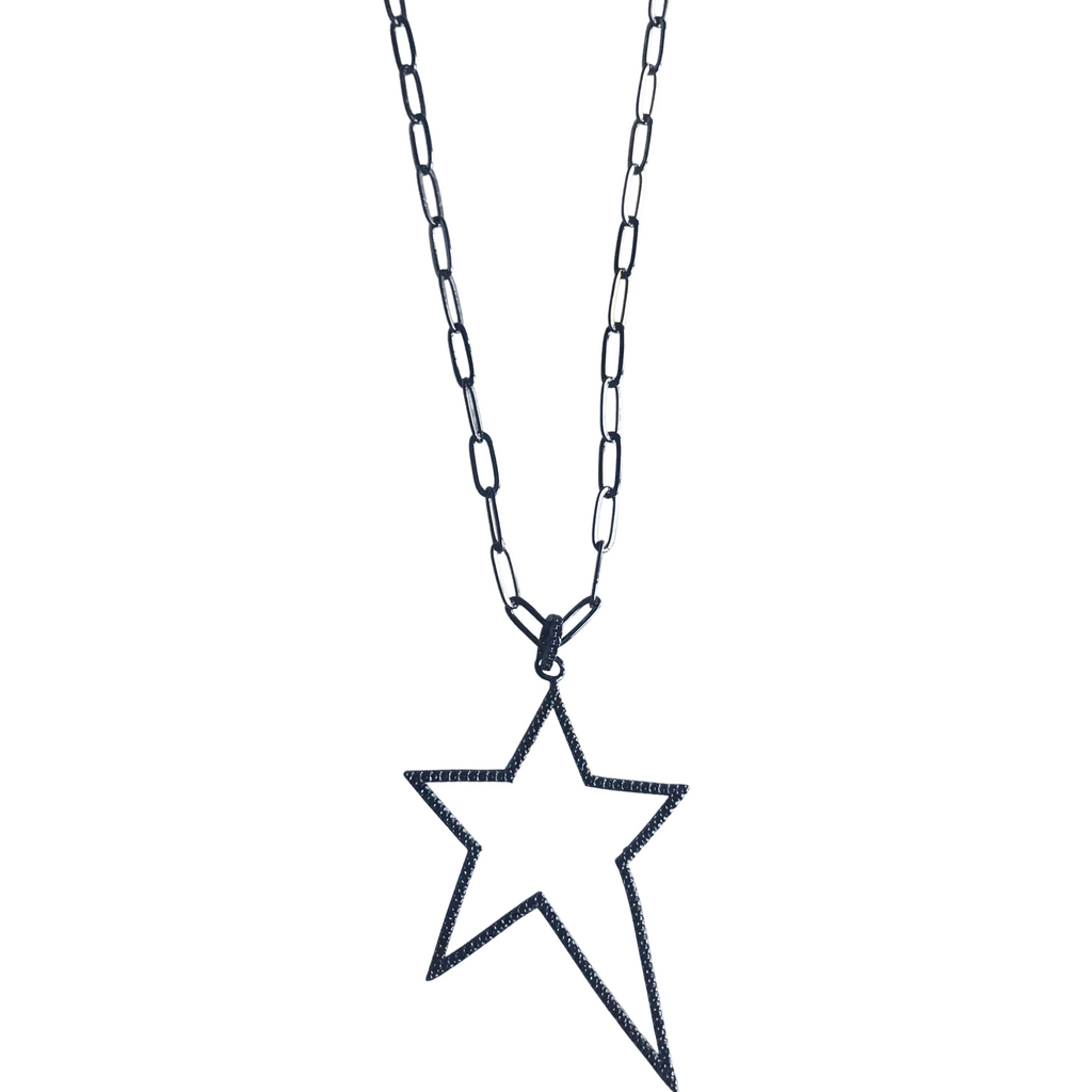 Pave Gunmetal Star Necklace