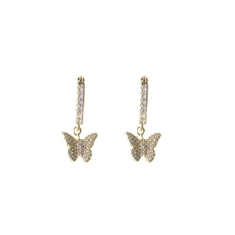 Butterfly Pave Huggie Earrings