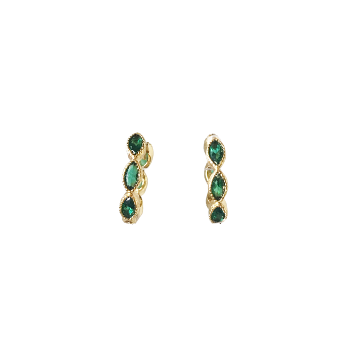 Green Pave Huggie Earrings
