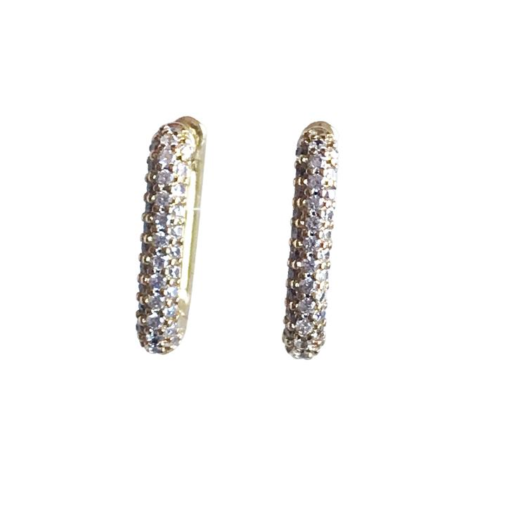 Rectangle Pave Huggie Earrings