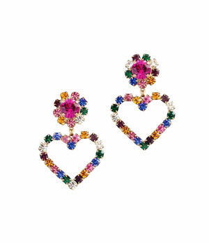 Cupid Heart Earrings- Multi