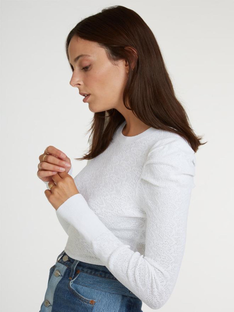 Pointelle Puff Sleeve Crew