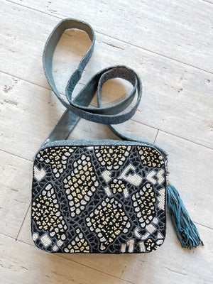 Dark Snakeskin Beaded Crossbody