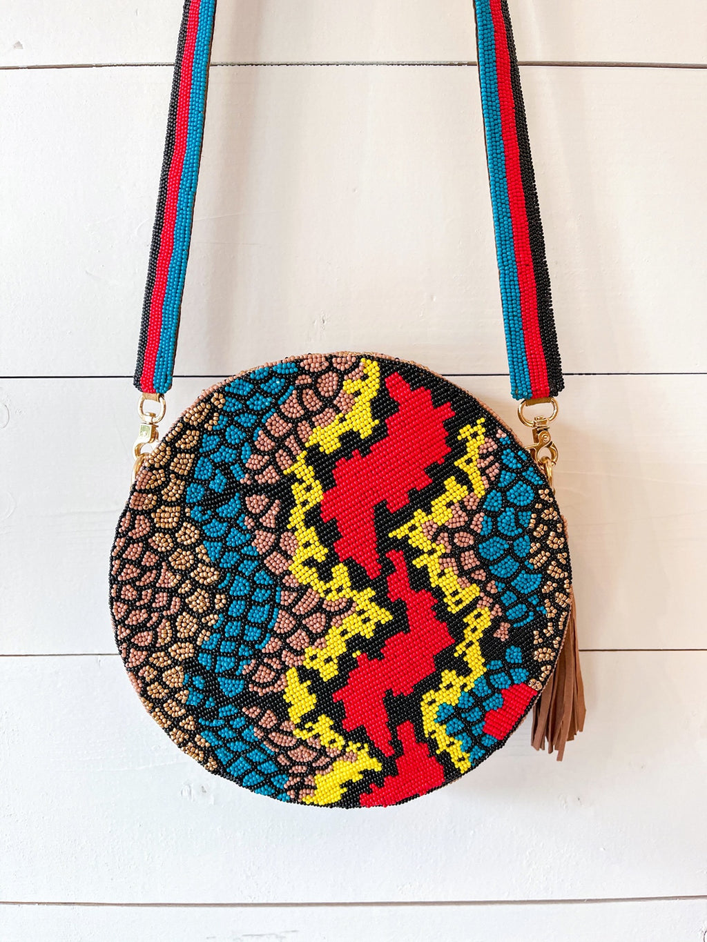 Multicolor Snakeskin Beaded Crossbody
