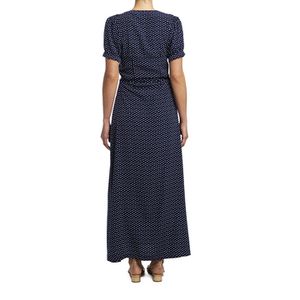 Navy Polka Dot Wrap Dress