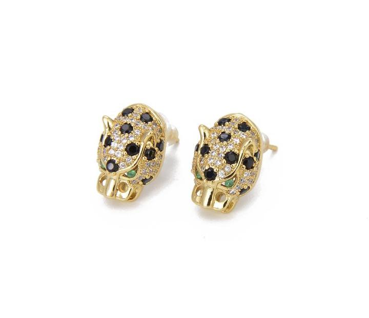 Pave Leopard Stud Earrings