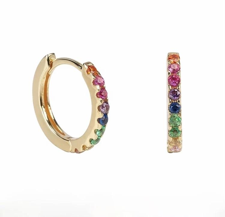 Pave Multicolor Huggie Earrings